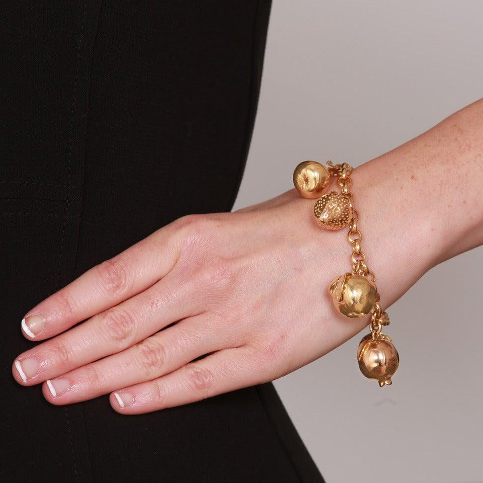 Women's Fruit Motif Charm Bracelet For Sale