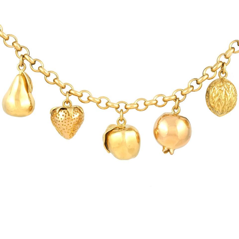Fruit Motif Charm Bracelet For Sale 3