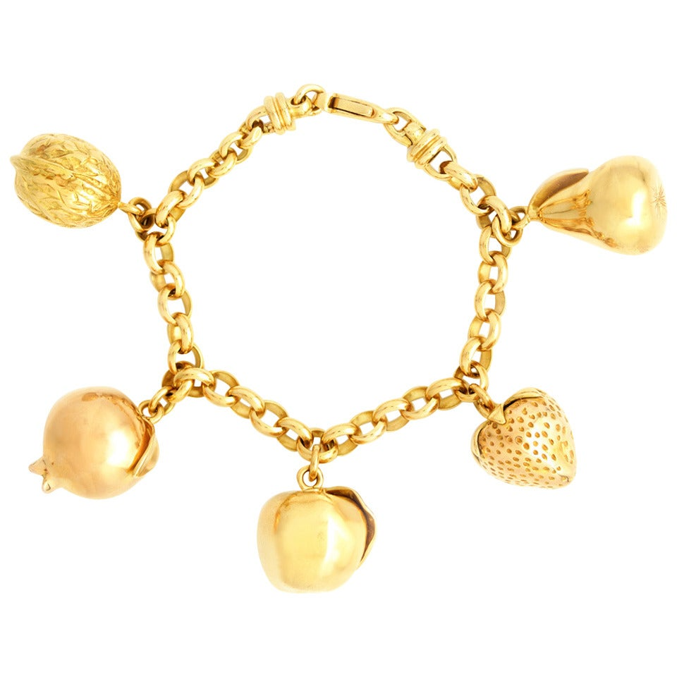 Fruit Motif Charm Bracelet For Sale