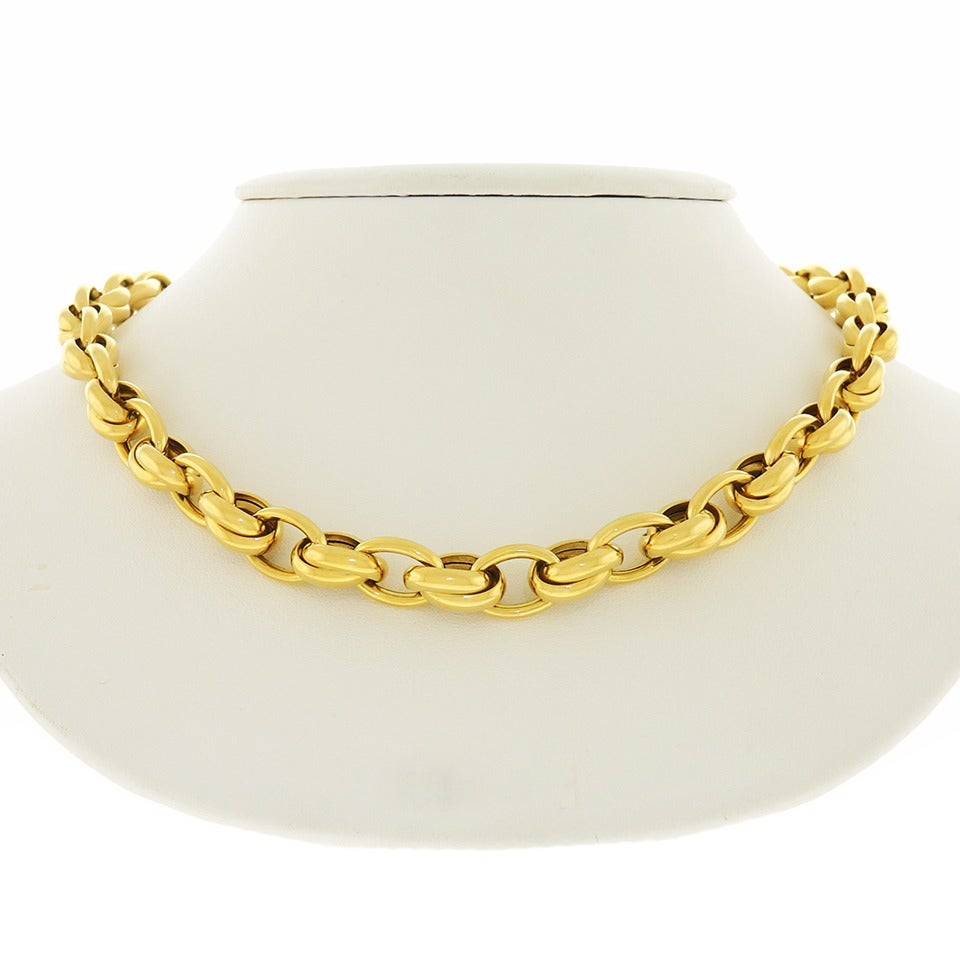 1980s Gay Freres Gold link Necklace 3
