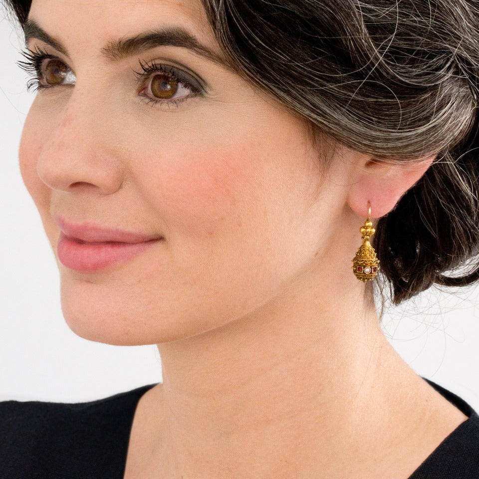 Victorian Etruscan Revival Pearl Ruby Gold Dangle Earrings 2