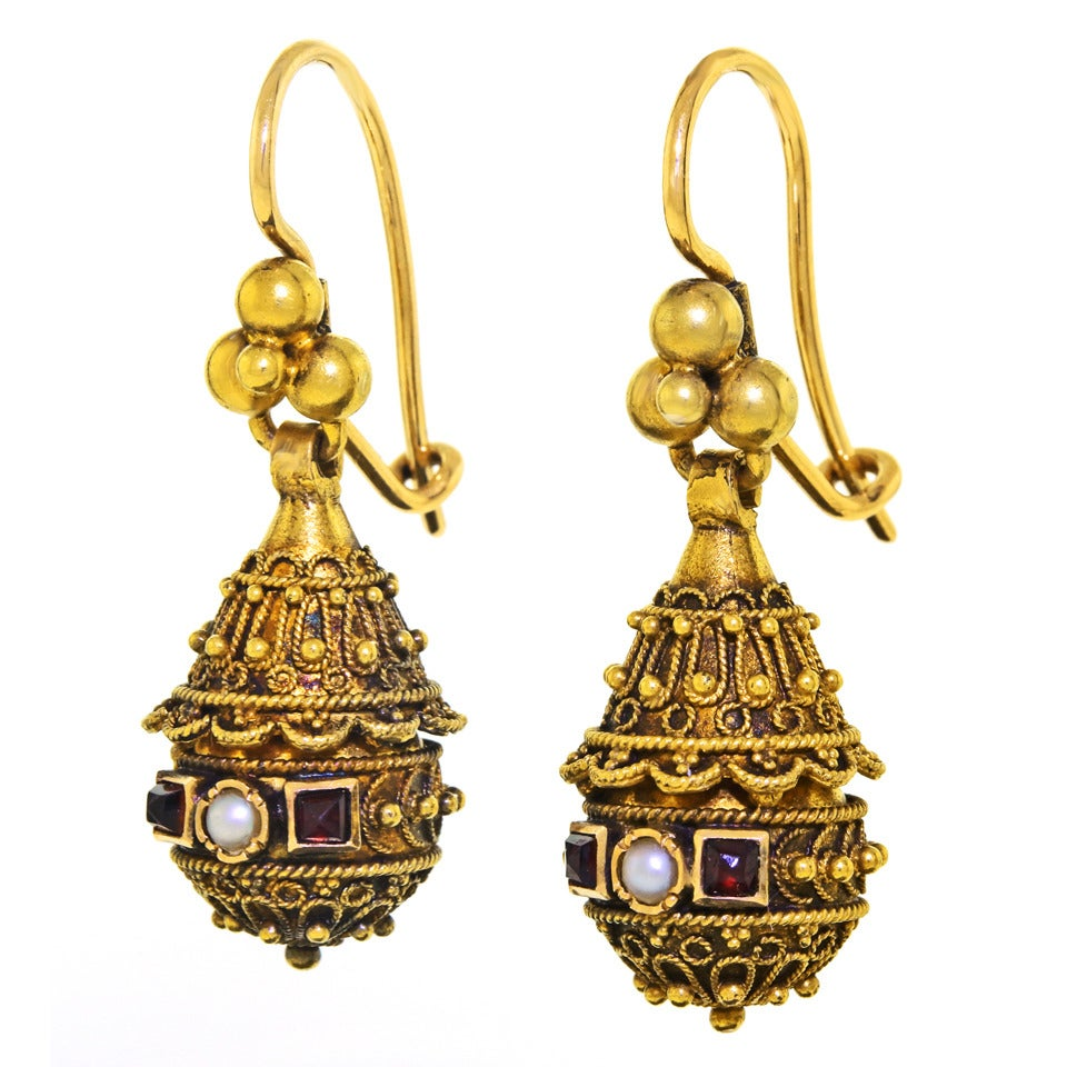 Victorian Etruscan Revival Pearl Ruby Gold Dangle Earrings 3