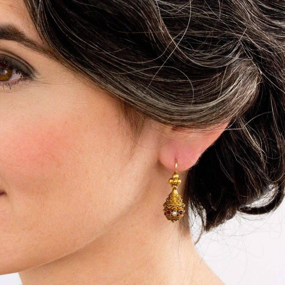 Victorian Etruscan Revival Pearl Ruby Gold Dangle Earrings 4