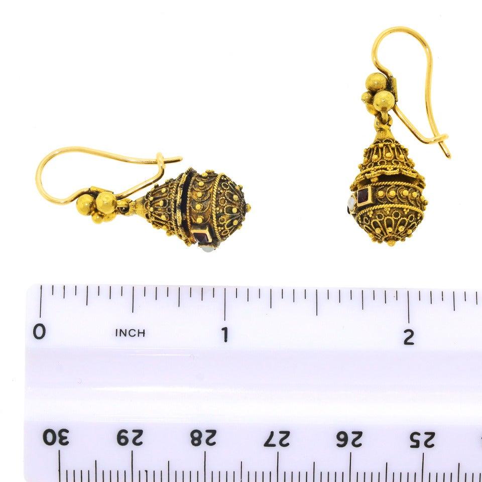 Victorian Etruscan Revival Pearl Ruby Gold Dangle Earrings 6