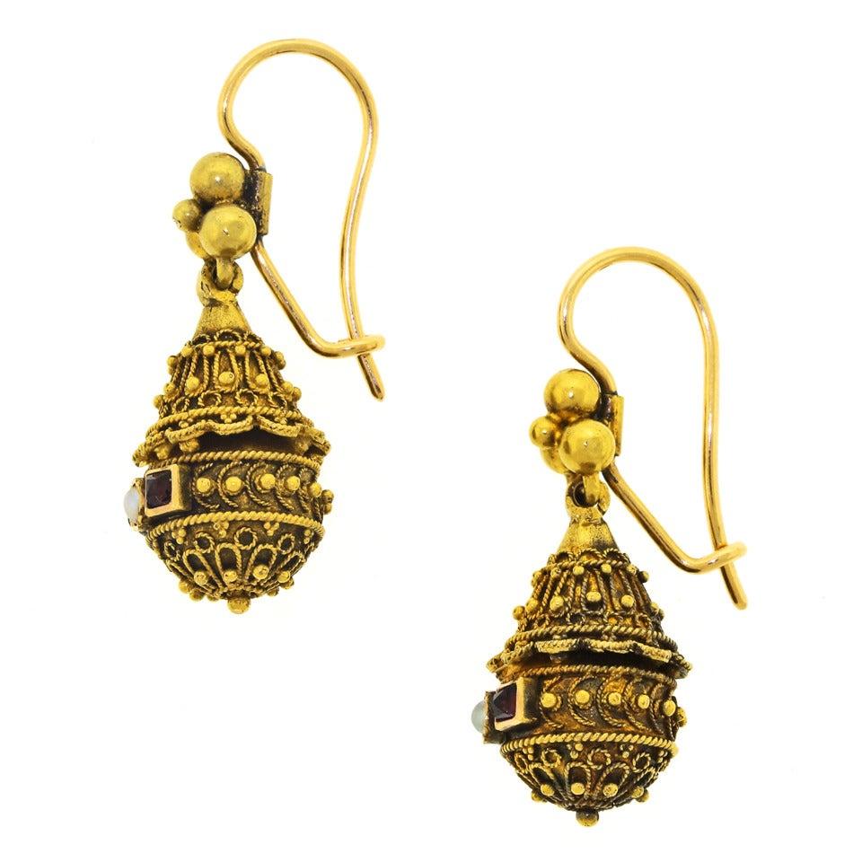 Victorian Etruscan Revival Pearl Ruby Gold Dangle Earrings 7