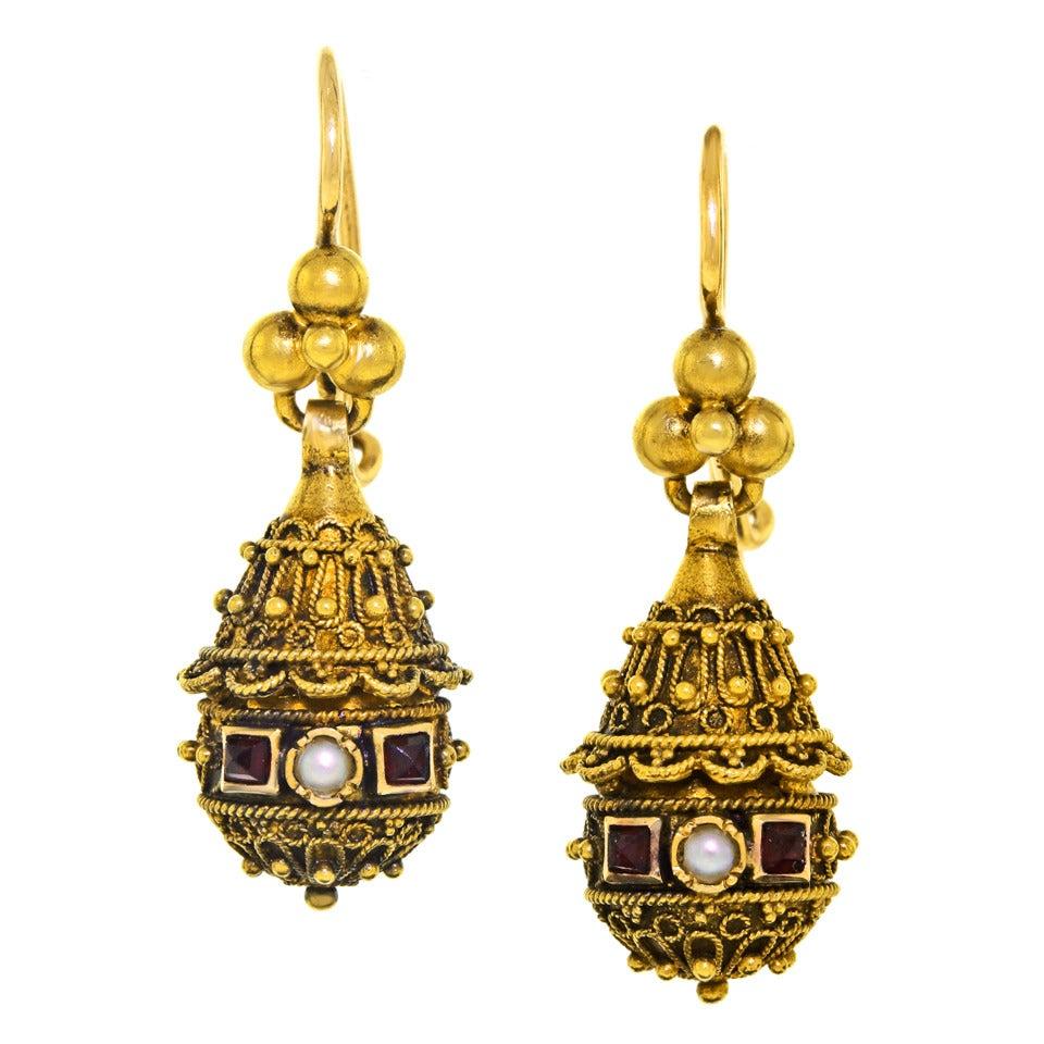 Victorian Etruscan Revival Pearl Ruby Gold Dangle Earrings 8