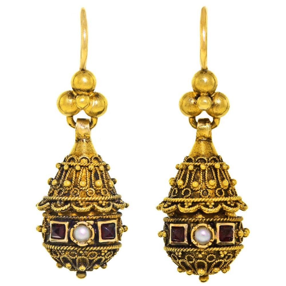 Victorian Etruscan Revival Pearl Ruby Gold Dangle Earrings 1