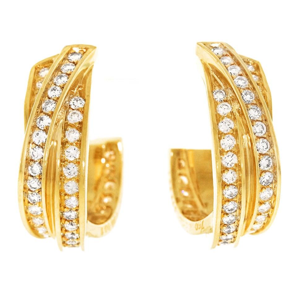 Cartier Diamond Gold Trinity Hoop Earrings 1