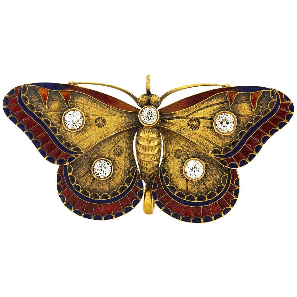 Antique Enamel Diamond Gold Butterfly Brooch At 1stdibs