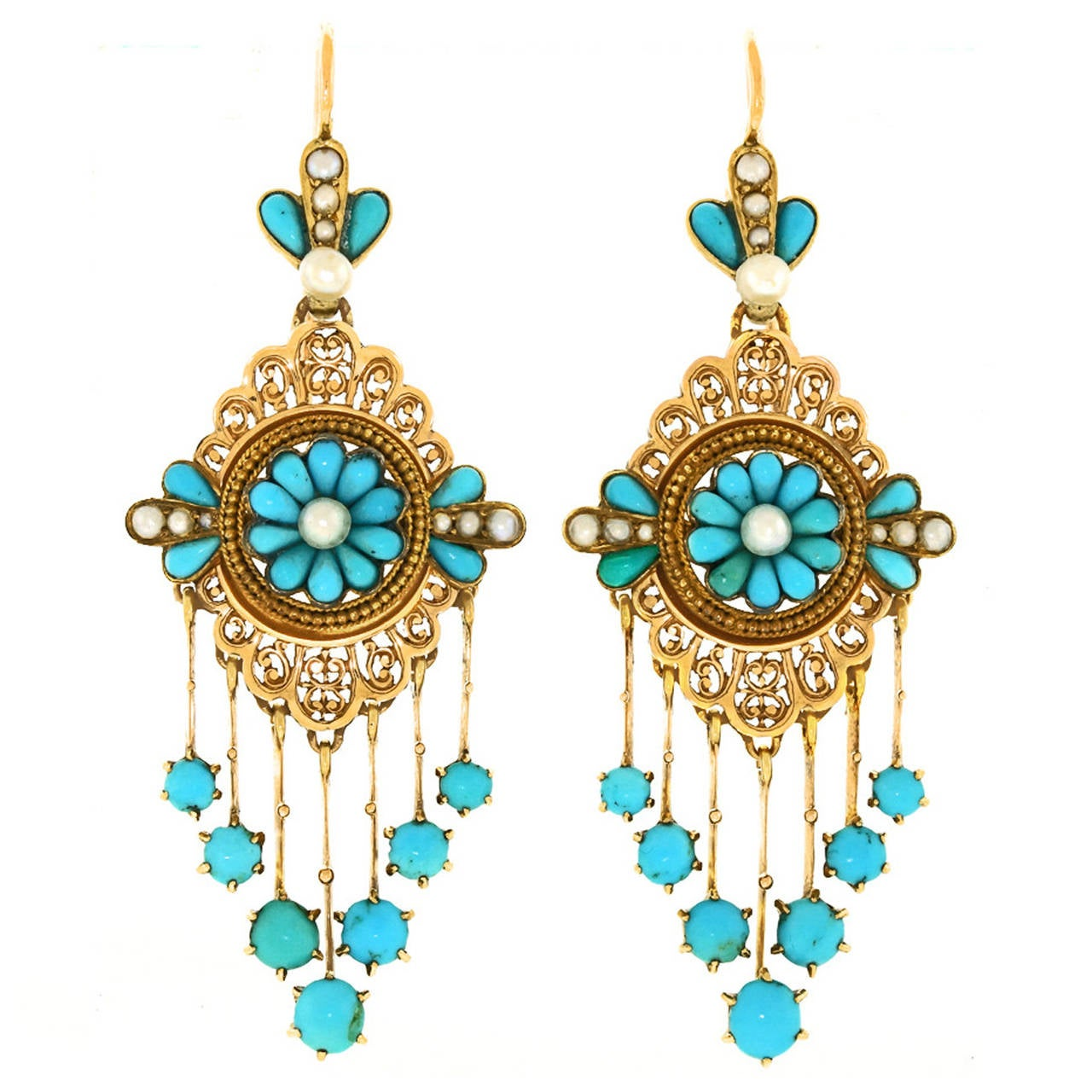 antique turquoise gold chandelier earrings for sale