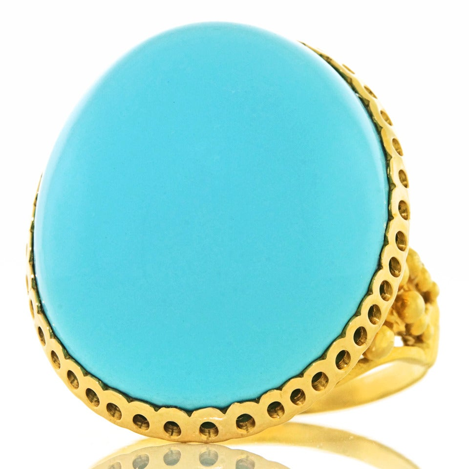 """Alchemy Collection """"Blue Baroque"""" Turquoise Gold Cocktail Ring In Excellent Condition For Sale In Litchfield, CT"""