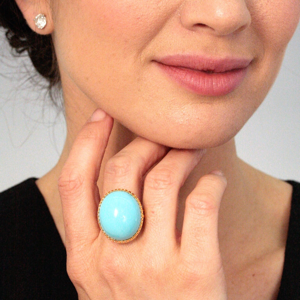 """Women's Alchemy Collection """"Blue Baroque"""" Turquoise Gold Cocktail Ring For Sale"""