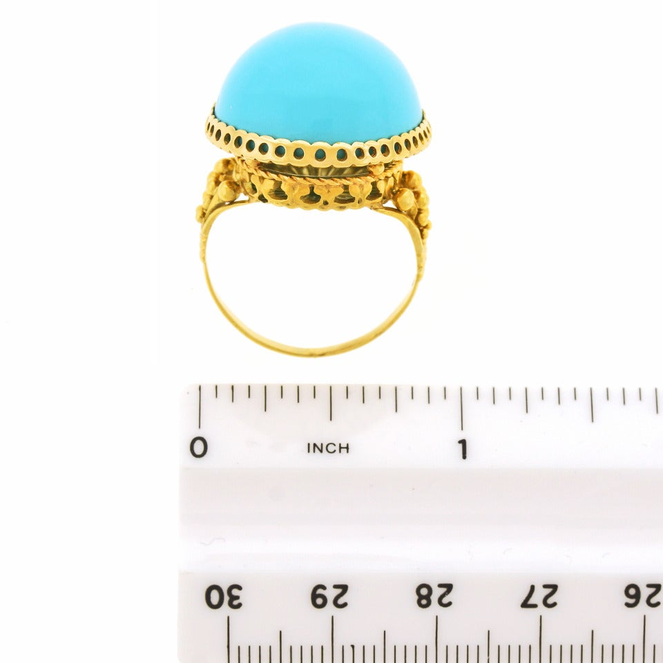 """Alchemy Collection """"Blue Baroque"""" Turquoise Gold Cocktail Ring For Sale 2"""