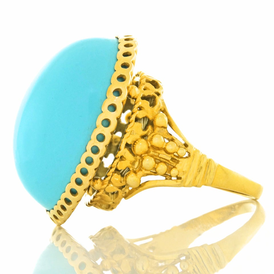 """Alchemy Collection """"Blue Baroque"""" Turquoise Gold Cocktail Ring For Sale 3"""