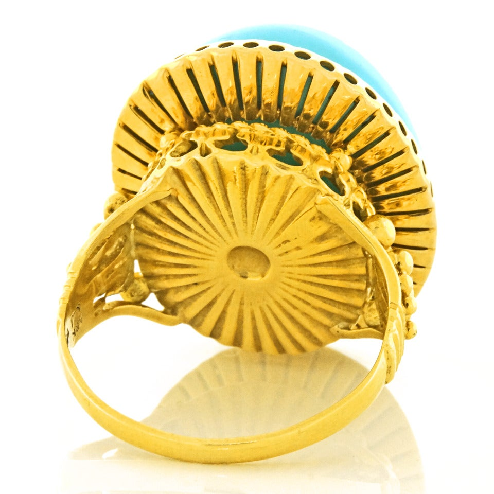 """Alchemy Collection """"Blue Baroque"""" Turquoise Gold Cocktail Ring For Sale 4"""