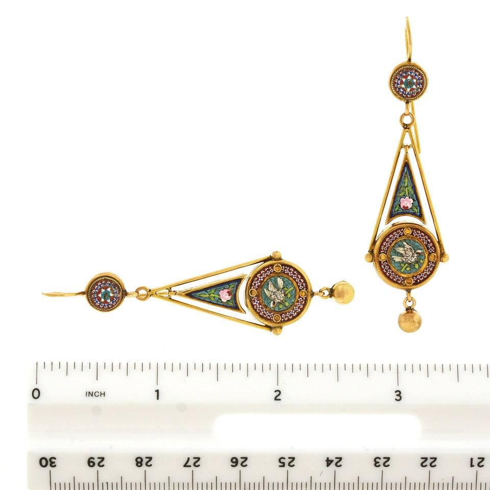 Antique Micromosaic in Gold Chandelier Earrings 6
