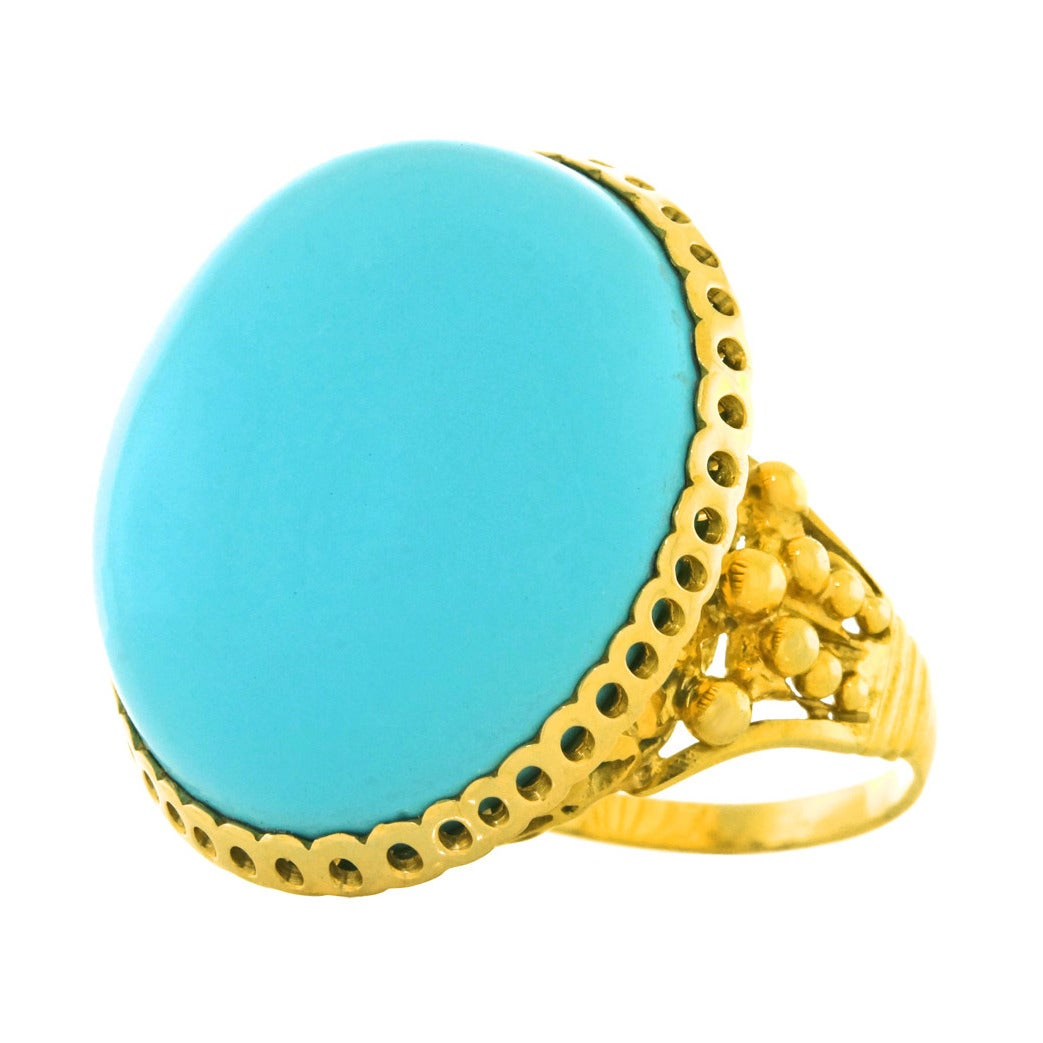 """Alchemy Collection """"Blue Baroque"""" Turquoise Gold Cocktail Ring For Sale"""