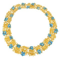 Modernist Persian Turquoise and Gold Necklace
