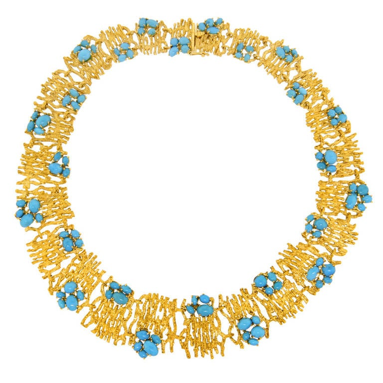 Modernist Persian Turquoise and Gold Necklace For Sale
