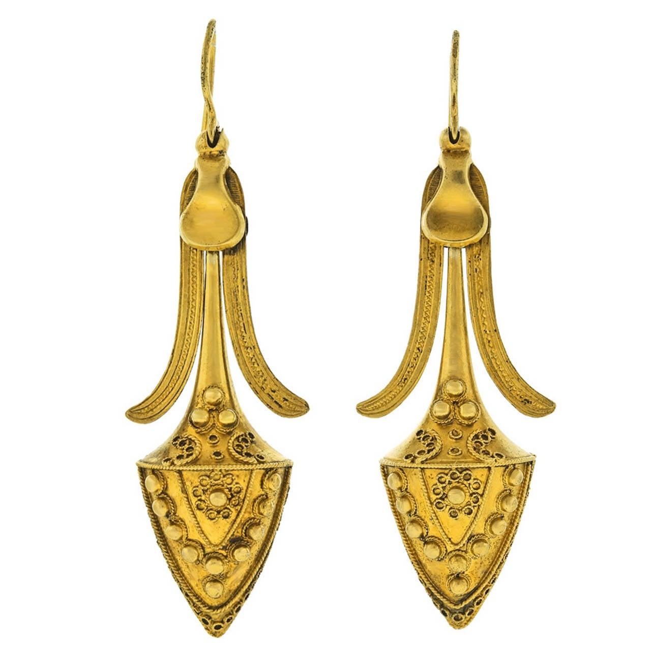 Antique Etruscan Revival Gold Earrings