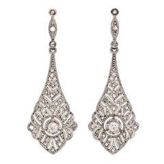 Edwardian Diamond Gold Platinum Dangle Earrings