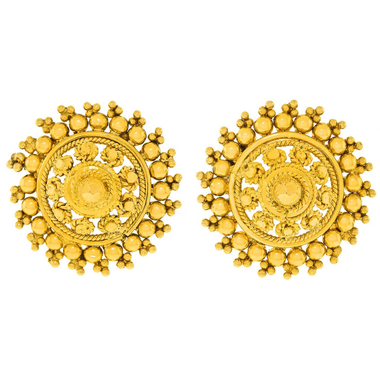 1960s Chic High Karat Gold Boho Indian Earrings at 1stdibs