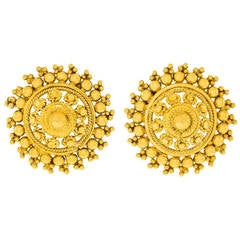 1960s Chic High Karat Gold Boho Indian Earrings
