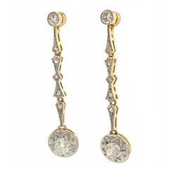 Antique Diamond Dangle Earrings