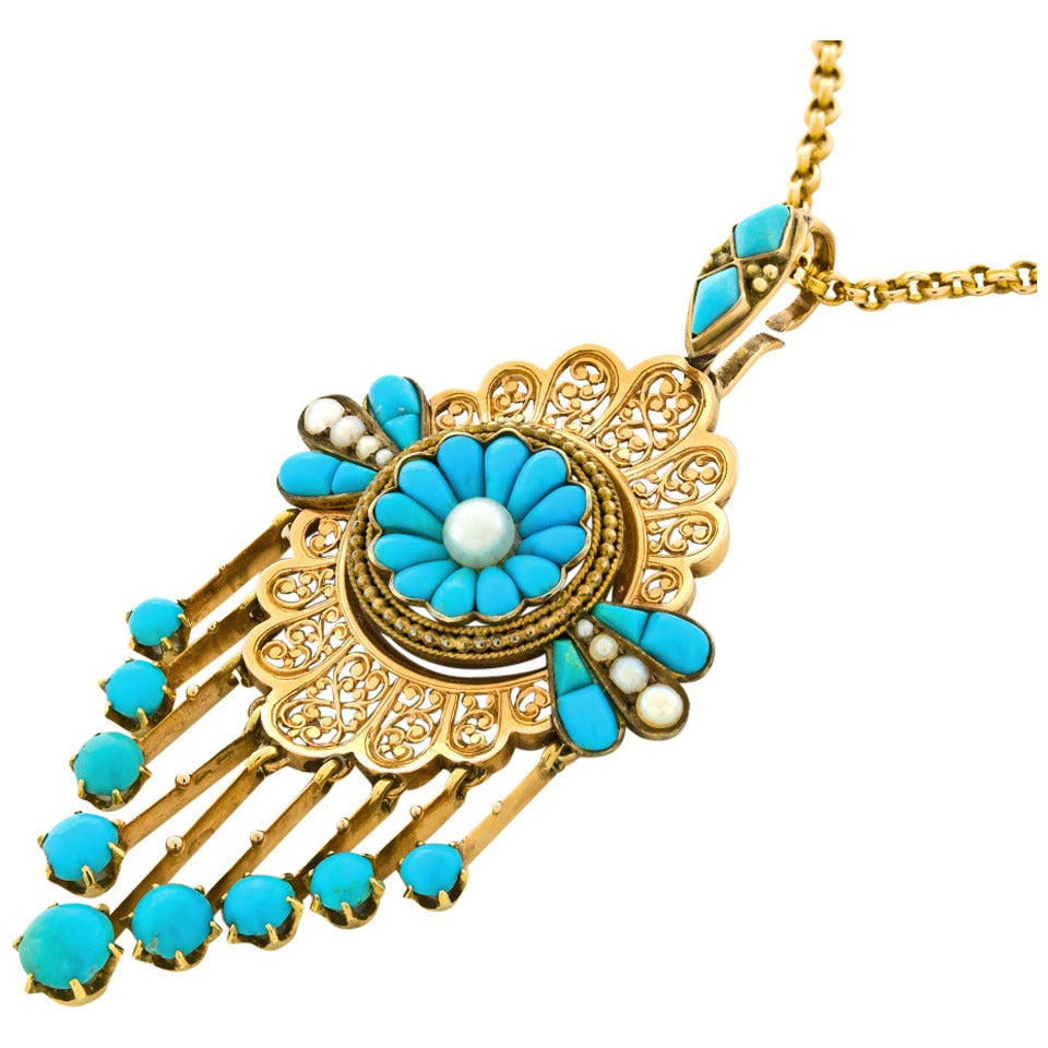 Antique French Pendant with Persian Turquoise & Pearls
