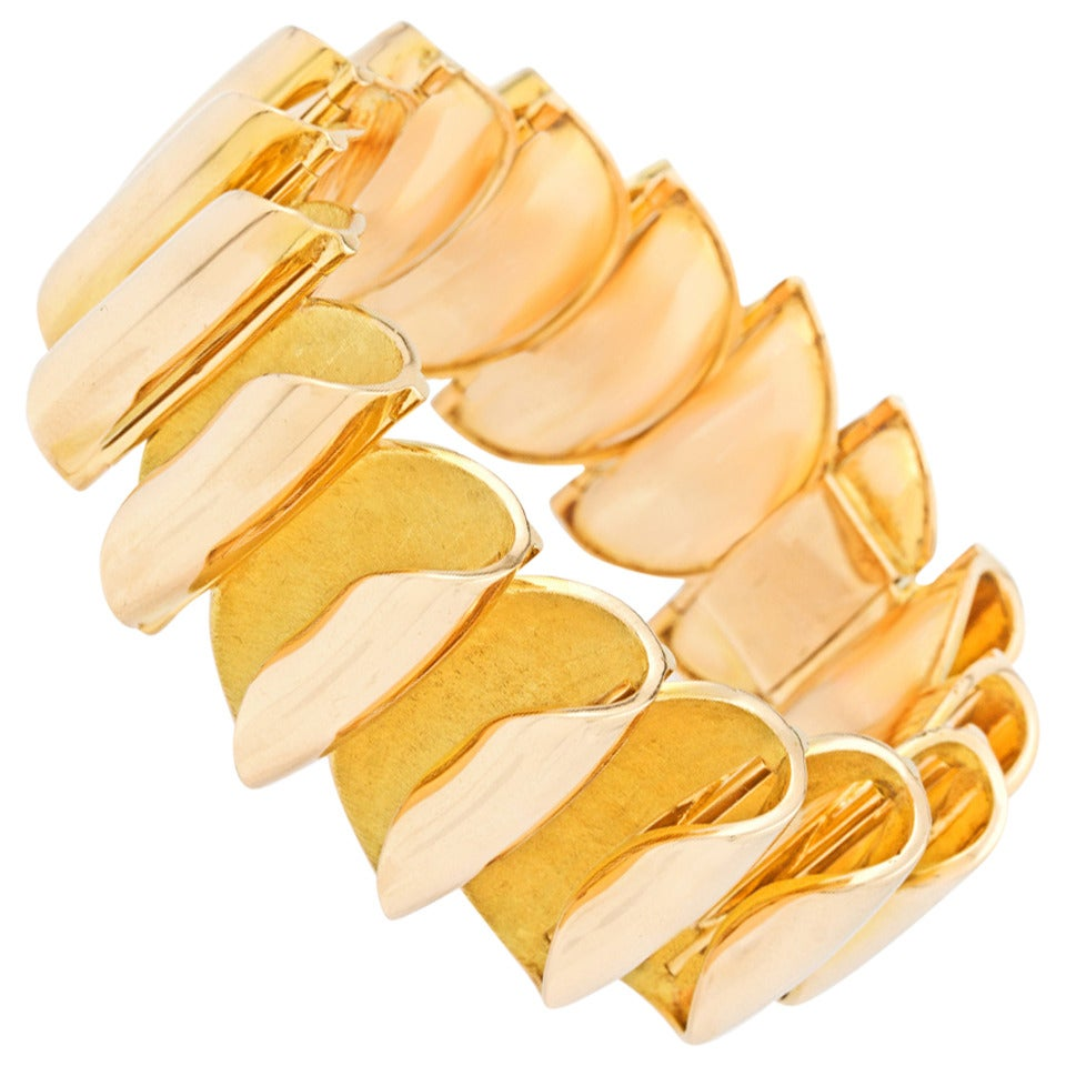Sixties French Modern Gold Bracelet