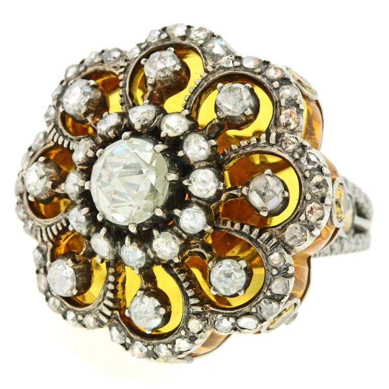"""Baroque on Baroque"" Citrine Diamond Ring"