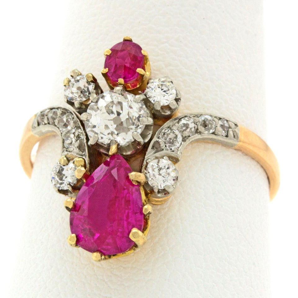 antique ruby gold crown ring at 1stdibs