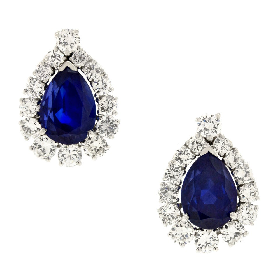 No-Heat Burma and Ceylon Sapphire & Diamond Platinum Earrings 7