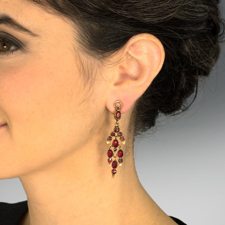 Gorgeous 19th Century French Garnet Gold Chandelier Earrings 5