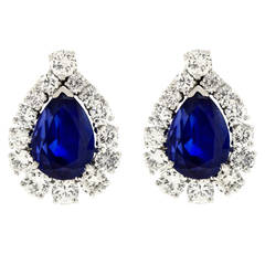 No-Heat Burma and Ceylon Sapphire and Diamond Set Platinum Earrings