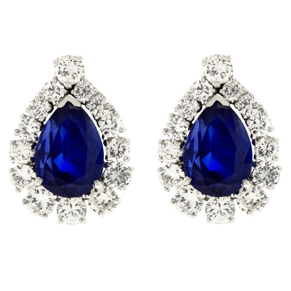 No-Heat Burma and Ceylon Sapphire & Diamond Platinum Earrings