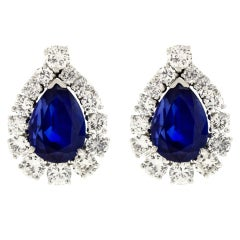No-Heat Burma and Ceylon Sapphire and Diamond-set Platinum Earrings