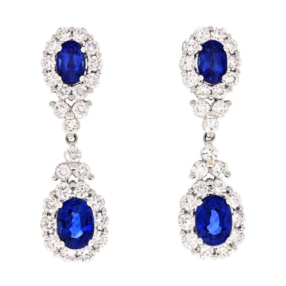 Gregg Ruth Sapphire Diamond Chandelier Earrings At 1stdibs