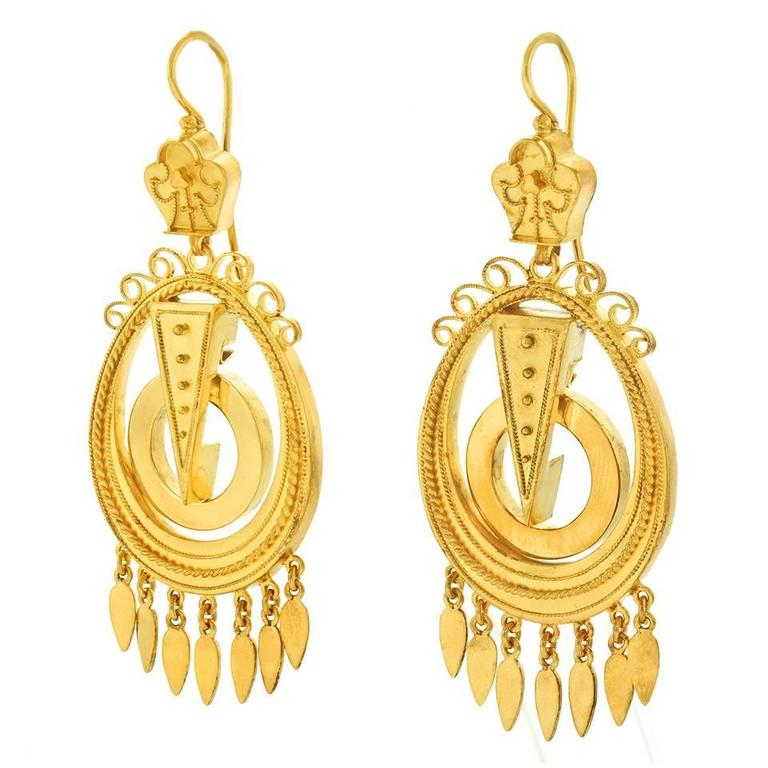 Antique Yellow Gold Chandelier Earrings 3 - Antique Yellow Gold Chandelier Earrings For Sale At 1stdibs