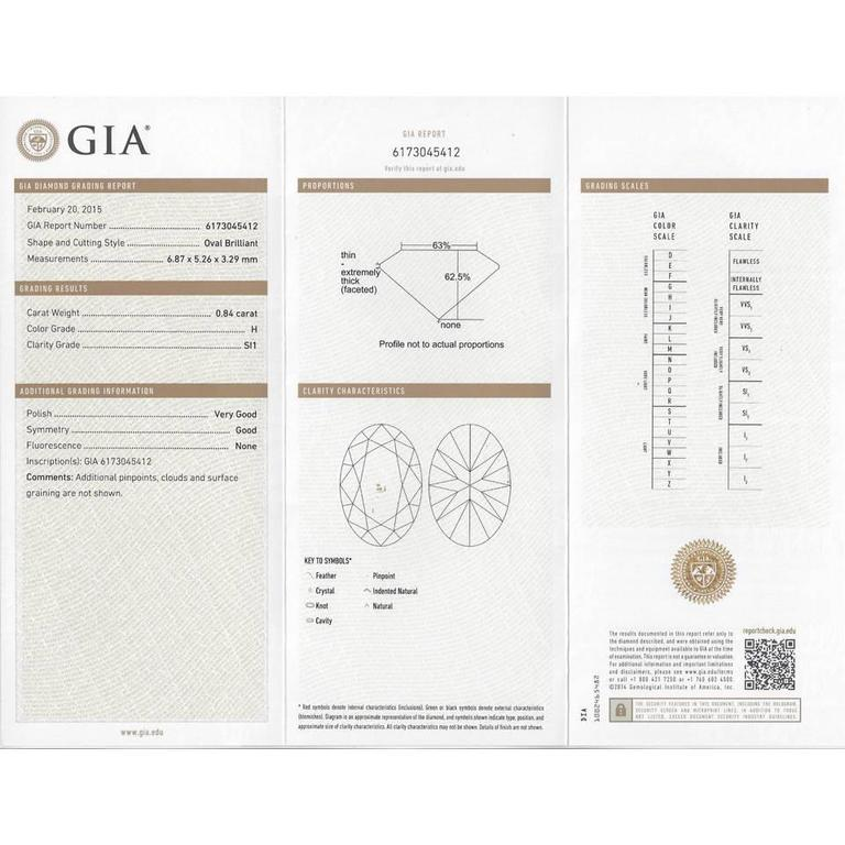 .84 Carat GIA Cert Oval Diamond Gold Engagement Ring For Sale 4