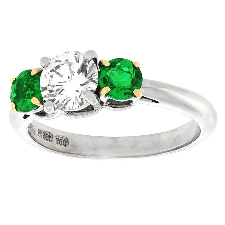 Tiffany and Co 81 Carat GIA Cert Diamond Emerald Three Stone Platinum Ring