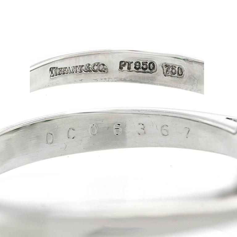 Tiffany Diamond and Emerald Three-Stone Ring GIA For Sale 1