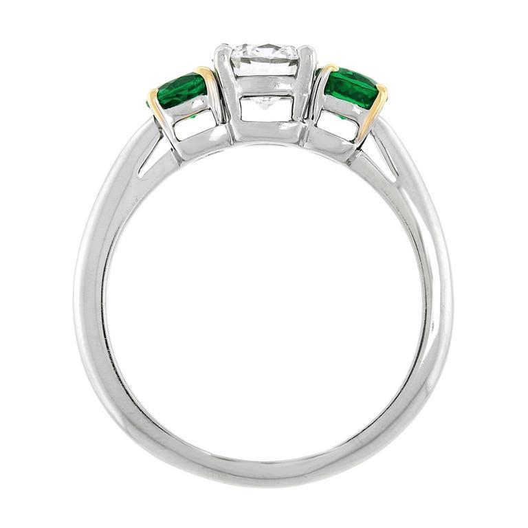 Tiffany Diamond and Emerald Three-Stone Ring GIA For Sale 3