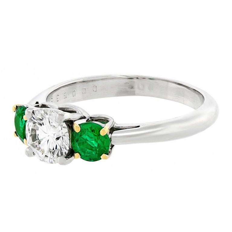 Tiffany Diamond and Emerald Three-Stone Ring GIA In Excellent Condition For Sale In Litchfield, CT