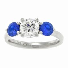 Three Stone Sapphire GIA Cert Diamond Platinum Ring