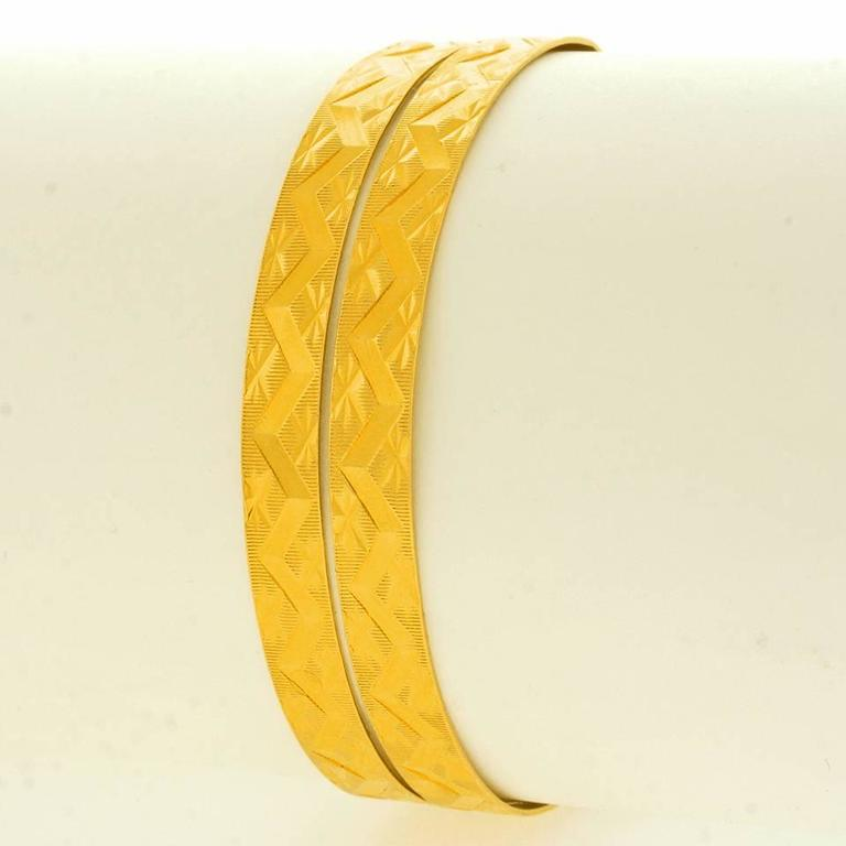 Pair of Wide Gold Bangles For Sale 4