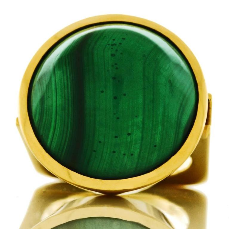 Modernist Malachite Gold Ring  3