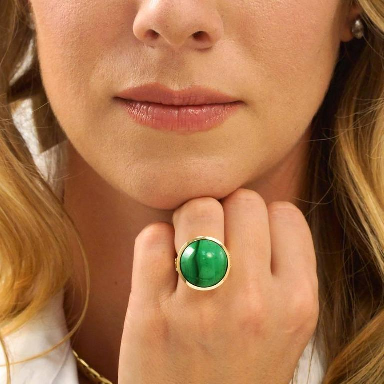 Modernist Malachite Gold Ring  4