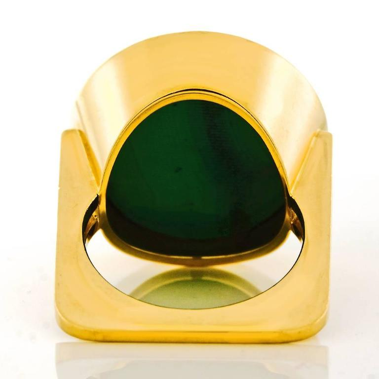 Modernist Malachite Gold Ring  7