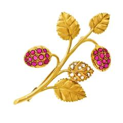 Art Deco Raspberry Branch Pin in Rubies, Diamonds, and Gold